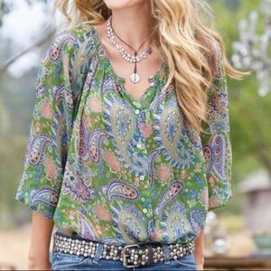 Sundance Giverny button front blouse 100% silk